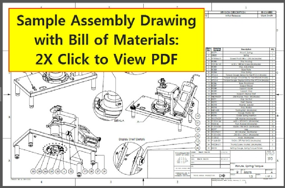 Spring Torque Fixture: The assembly drawing, with complete Bill of Materials.