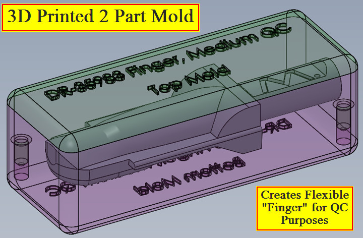 Two Piece Mold for soft silicone via 3D Printing