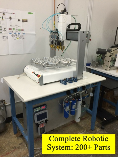 Robotic Gel Dispense System: Does 12 Sensors in One Setup using a Fisnar robot with 4 Nordson valves.