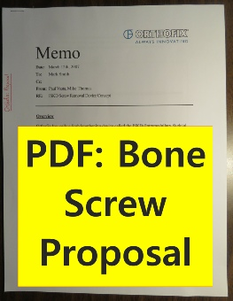 Orthofix: Proposal letter to develope a mechanism to remove stubborn screws from human bone. See my design to the left.
